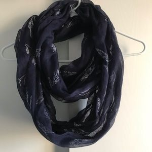 Accessories - Navy feather infinity scarf